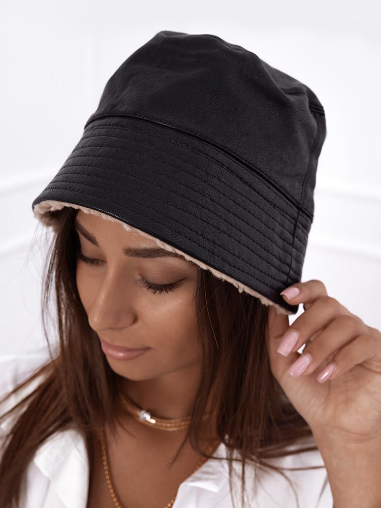 LEATHERETTE BLACK BUCKET HAT