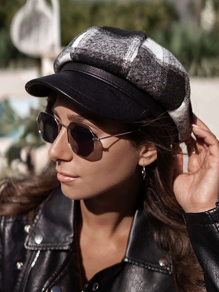 FEDERICA BLACK CHECKED HAT