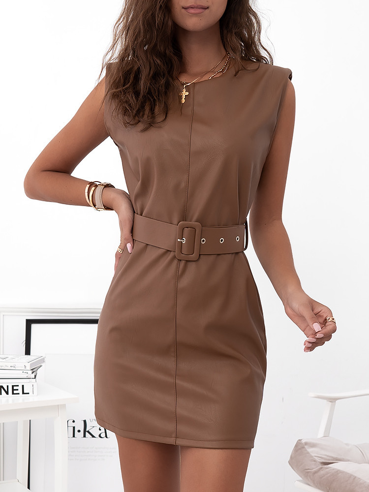 AMORE CAMEL LEATHER DRESS