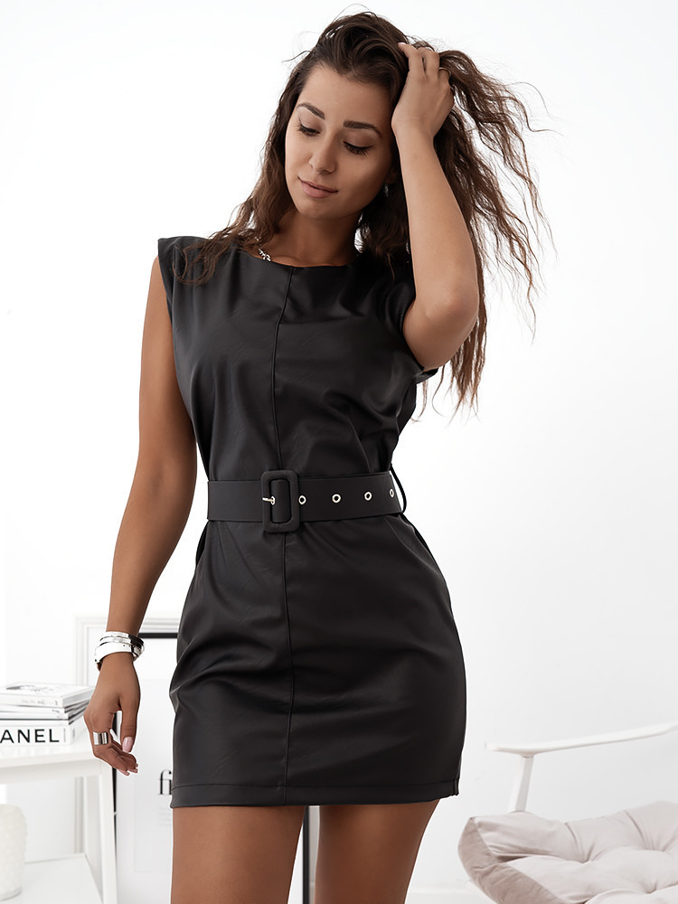 AMORE BLACK LEATHER DRESS