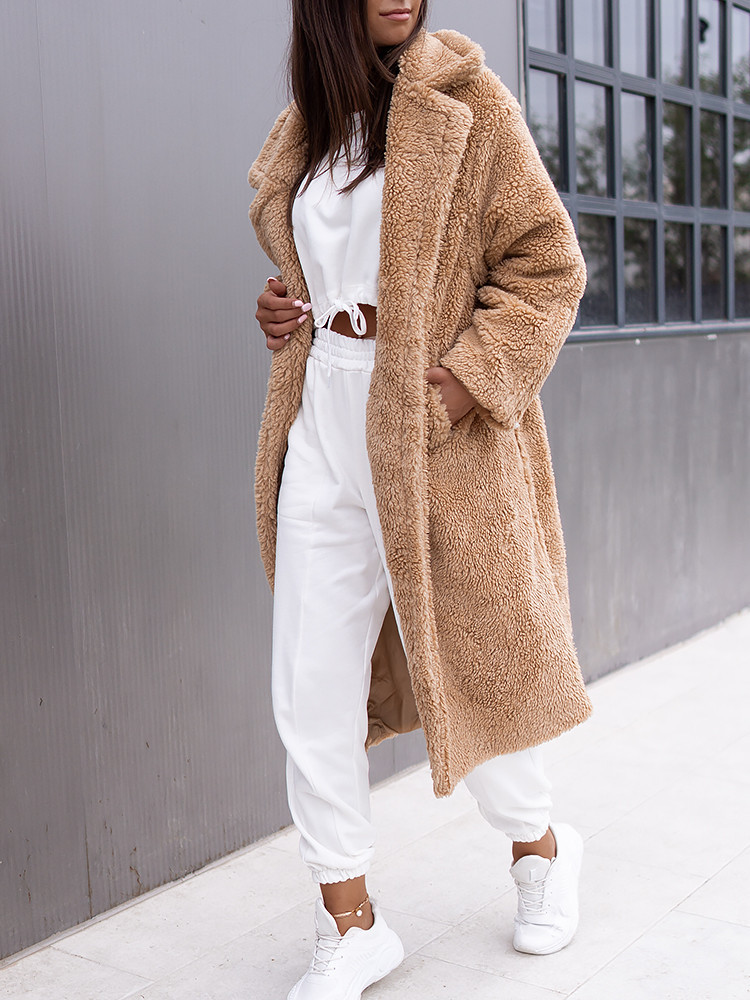 HADLEY CAMEL LONG TEDDY COAT
