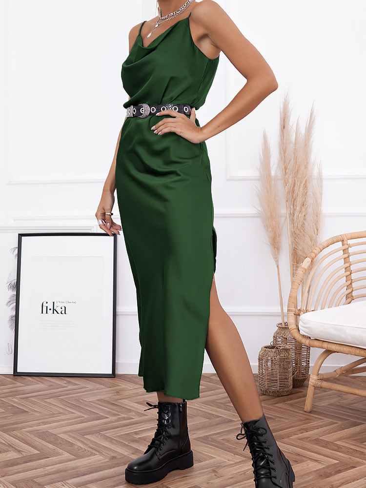 AMNESIA EMERALD SATIN DRESS