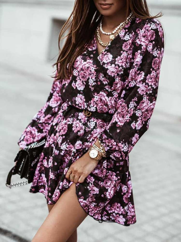 DEBORA BLACK FLORAL DRESS