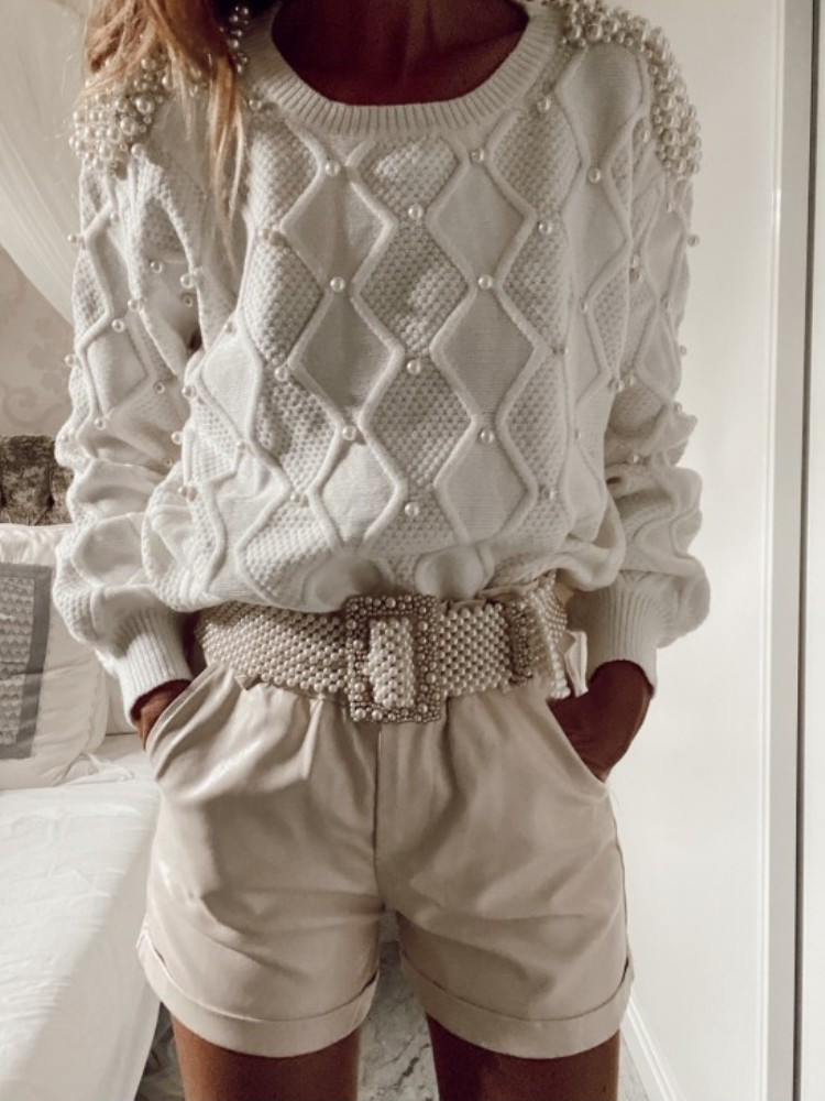 KNITTED PEARL BLOUSE