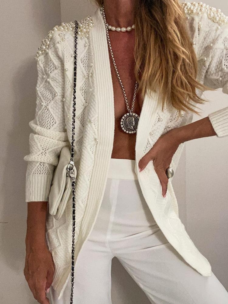 KNITTED PEARL CARDIGAN