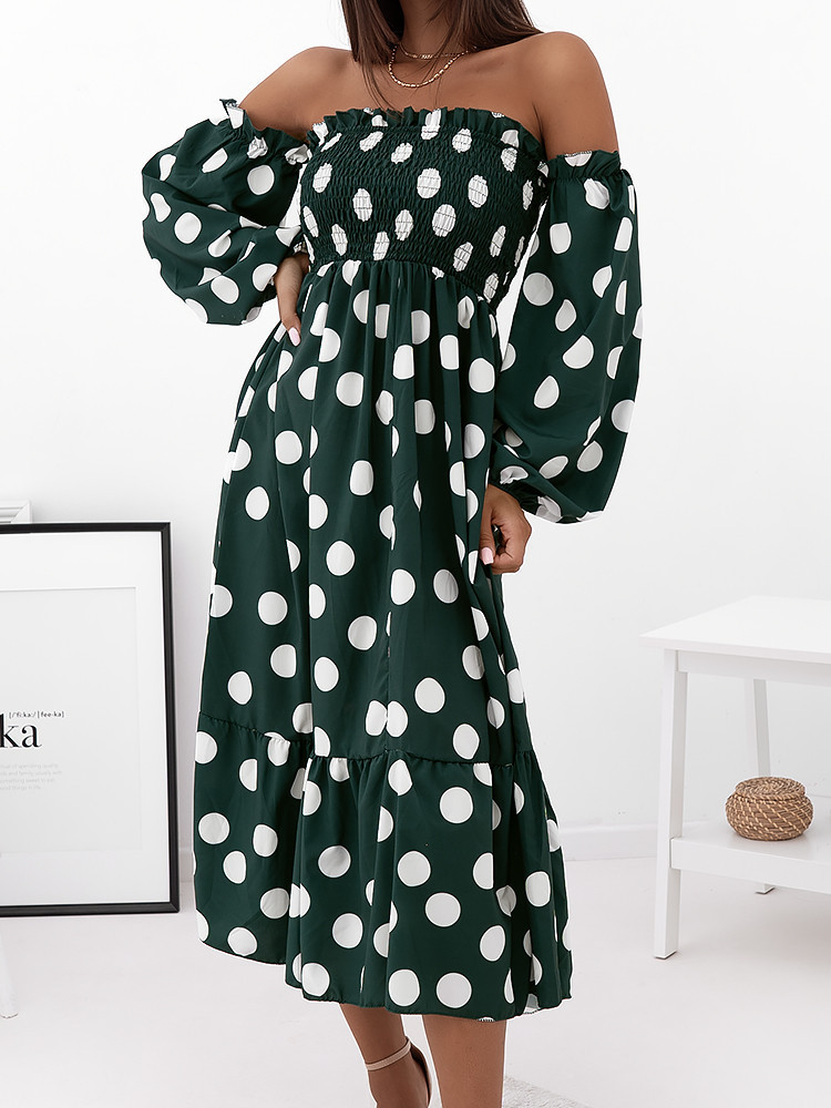 ELVIRA GREEN DOT DRESS