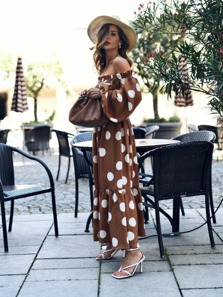 ELVIRA CAMEL DOT DRESS