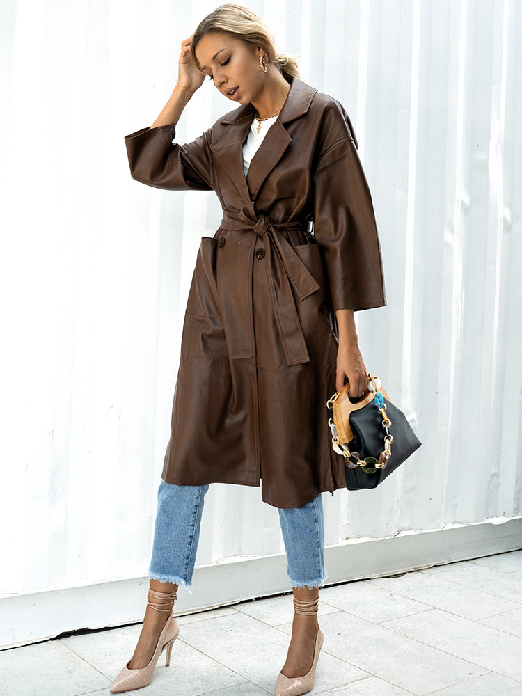 BROWN LEATHER LONG COAT