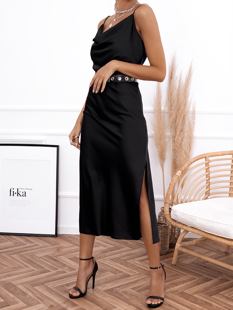 AMNESIA BLACK SATIN DRESS