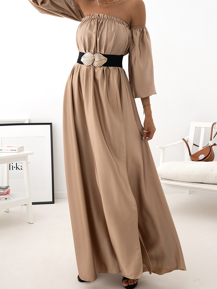ILIANA BEIGE MAXI SATIN DRESS