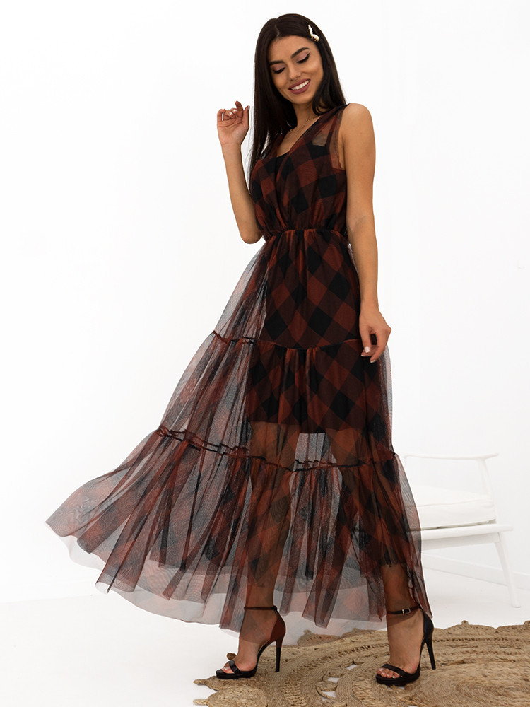 TULLE CHOCOLATE MAXI DRESS