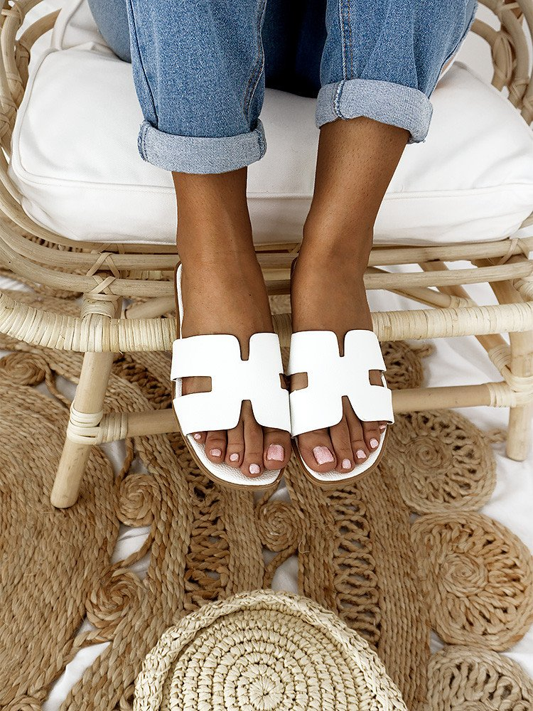 SAGE WHITE SLIPPERS