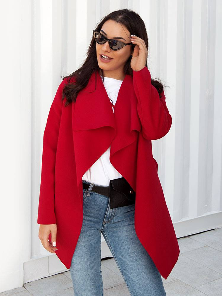RED SHORT WOOL COAT