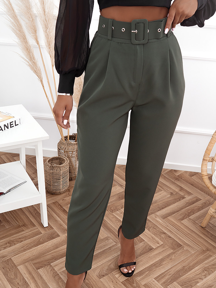 EUROPE KHAKI HI WAISTED PANTS