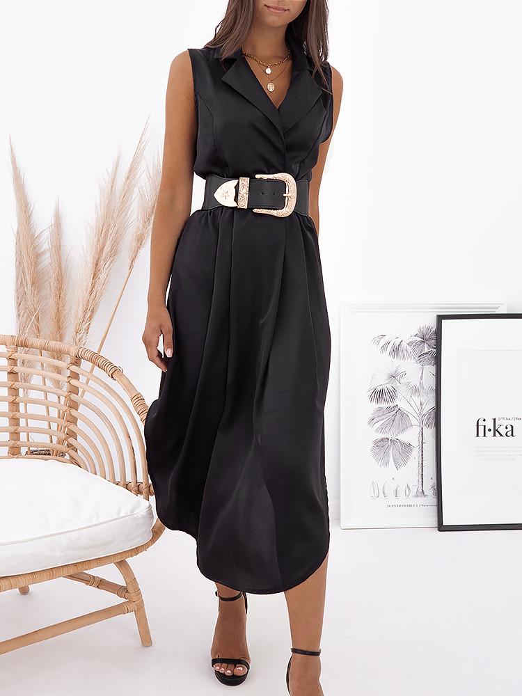 SANDY BLACK SATIN DRESS