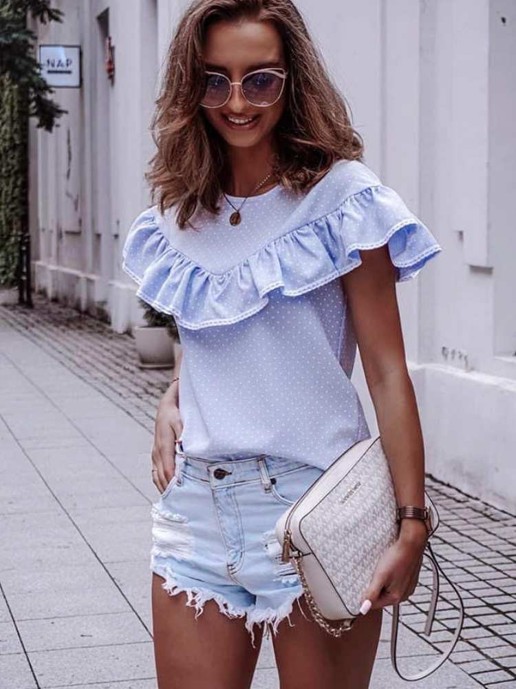 CONDESSA BABY BLUE DOT BLOUSE