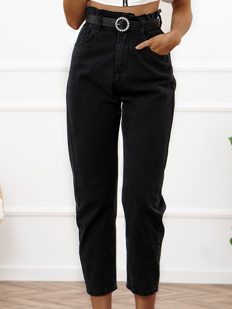 SLOUCHY JEANS BLACK PANTS