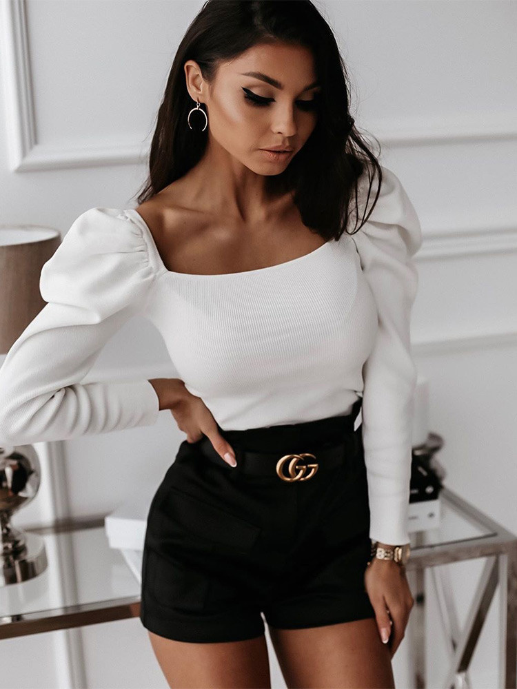 ESMERALDA WHITE KNITTED BLOUSE
