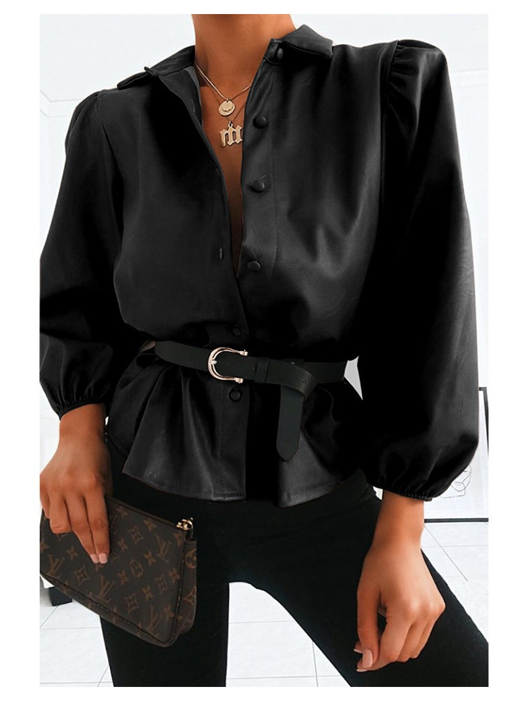 OFELIA BLACK LEATHER SHIRT