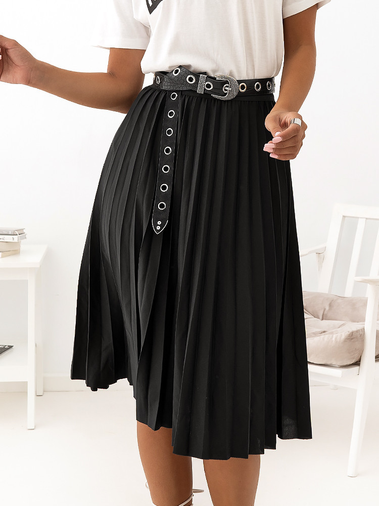 ANGIE BLACK PLEATED SKIRT