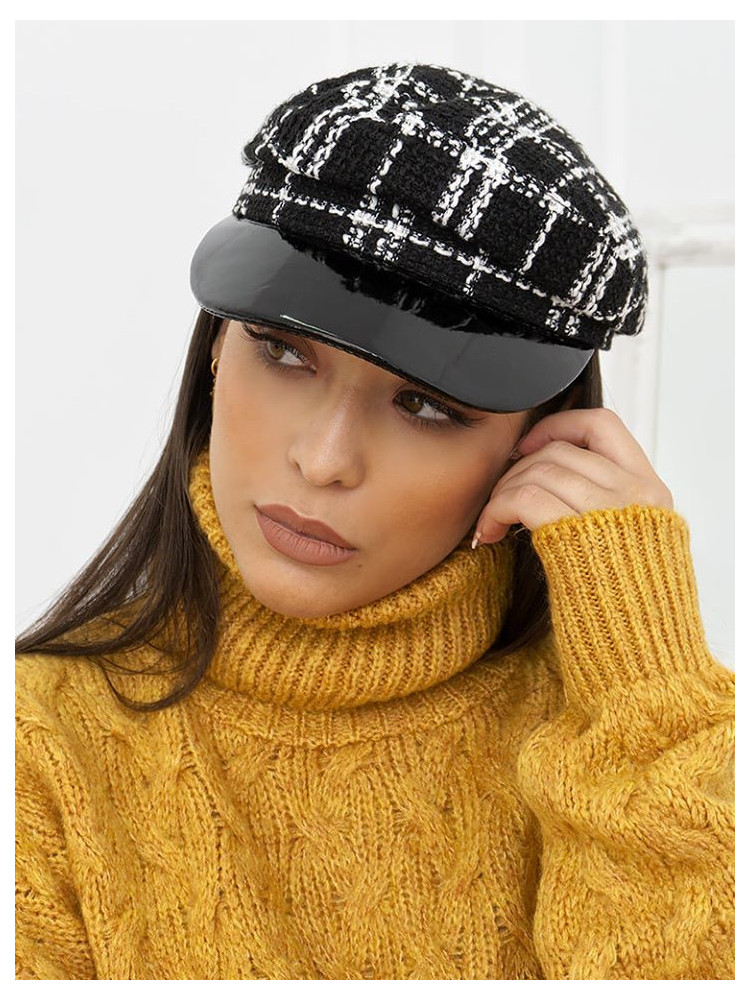CHECKED KNITTED GRUNGE HAT