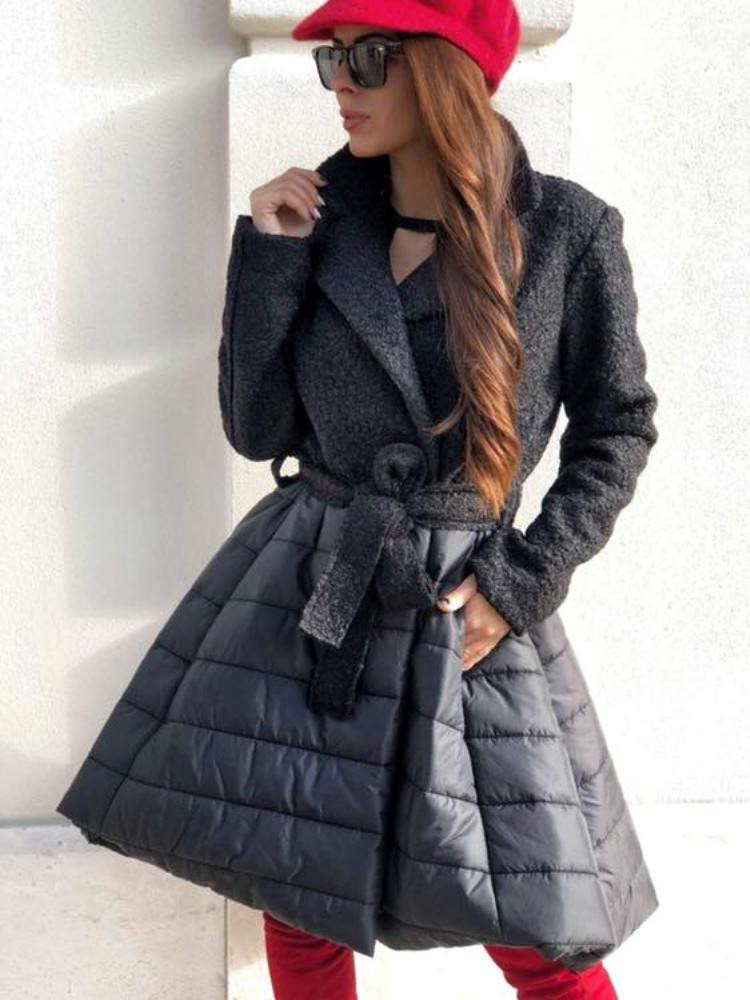 BLACK MESH PUFFY COAT