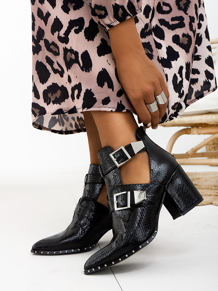 VENETIA BLACK CUT OUT BOOTIES
