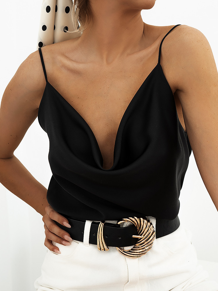 MONROE BLACK SATIN TOP