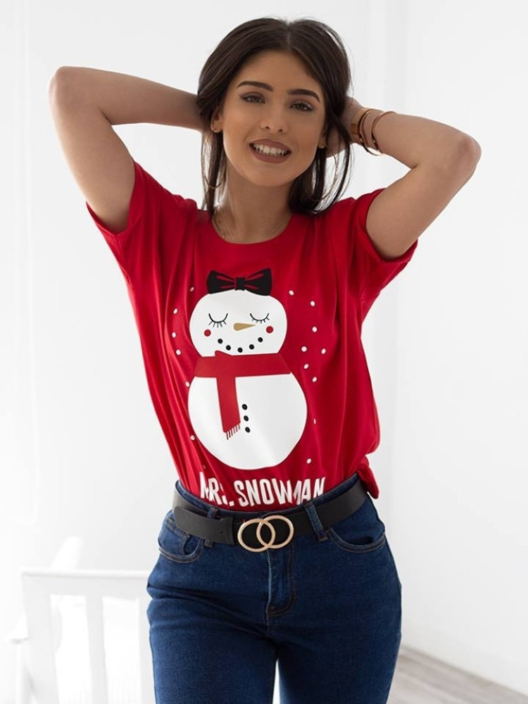 MRS. SNOWMAN RED T-SHIRT