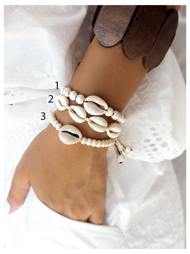 WHITE SEASHELL BRACELETS (3...