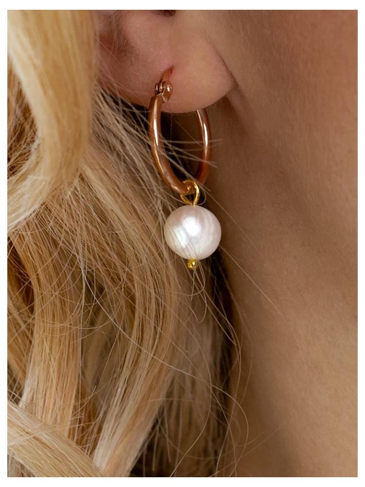 PEARL SMALL HOOP GOLD EARRINGS