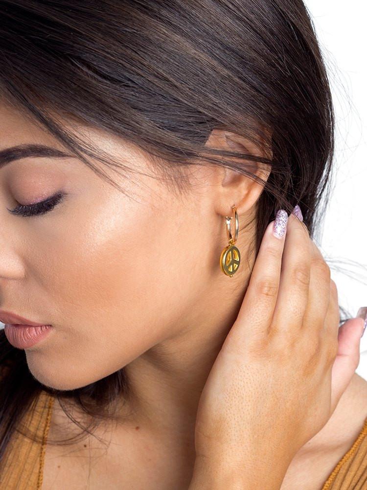 PEACE GOLD HOOP EARRINGS