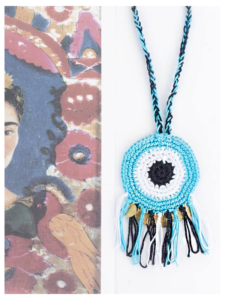 EVIL EYE HANDKNITTED NECKLACE