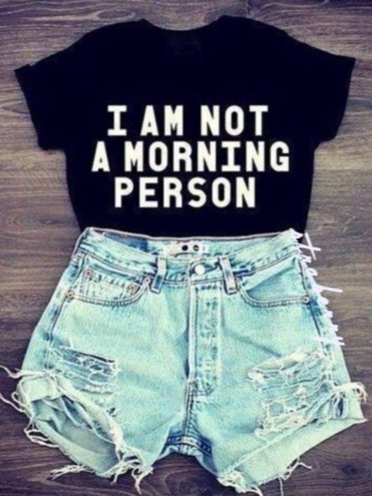 MORNING PERSON BLACK T-SHIRT