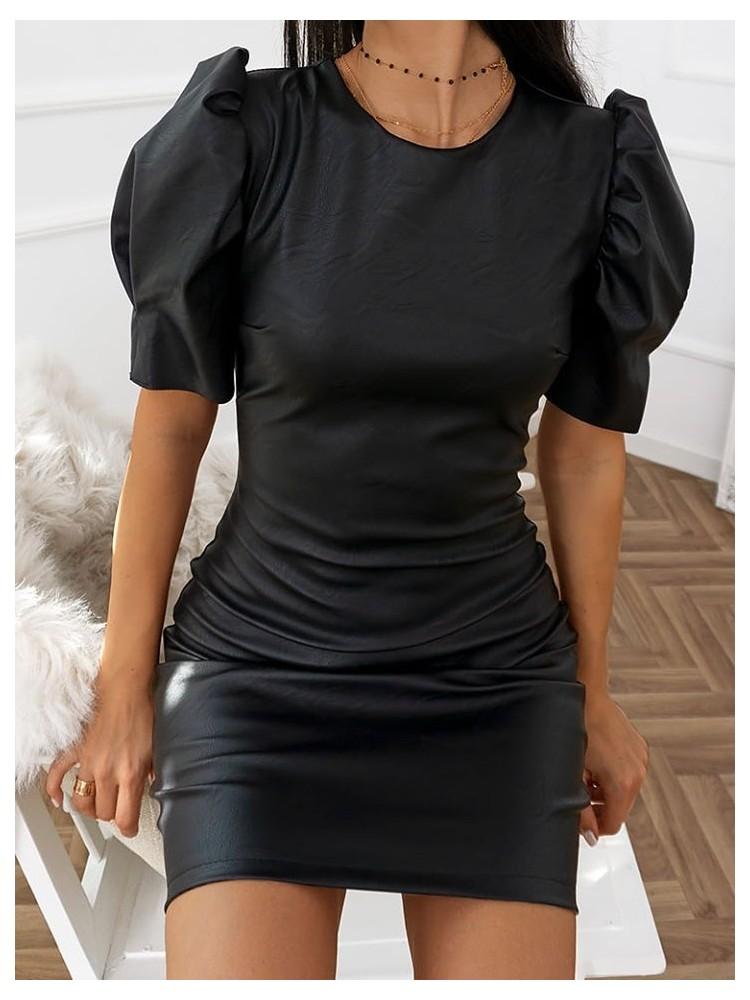 NELSON BLACK LEATHER DRESS