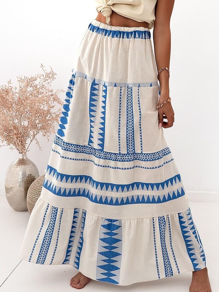 AZTEK BLUE LINEN MAXI SKIRT