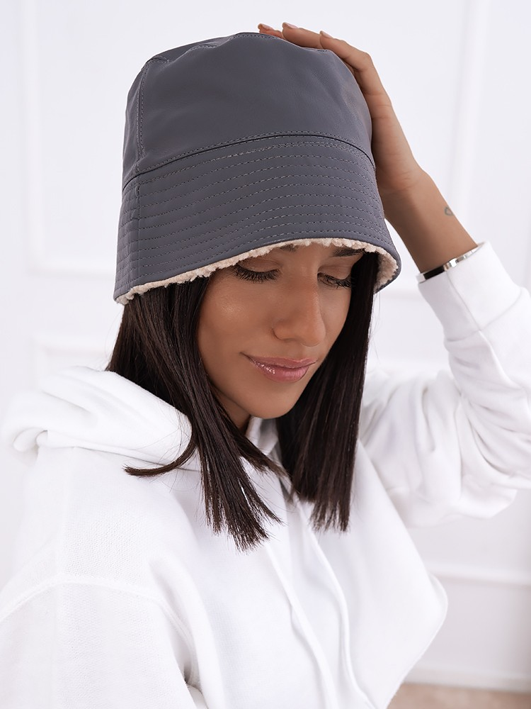 LEATHERETTE GREY BUCKET HAT