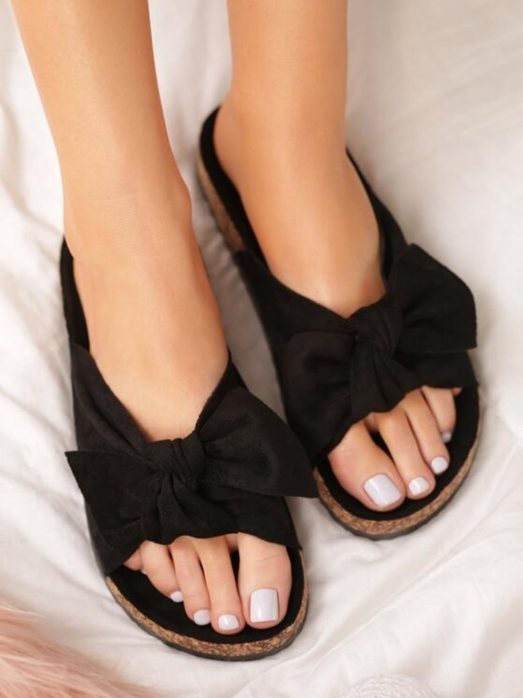 BLACK SUEDE BOW SLIPPERS