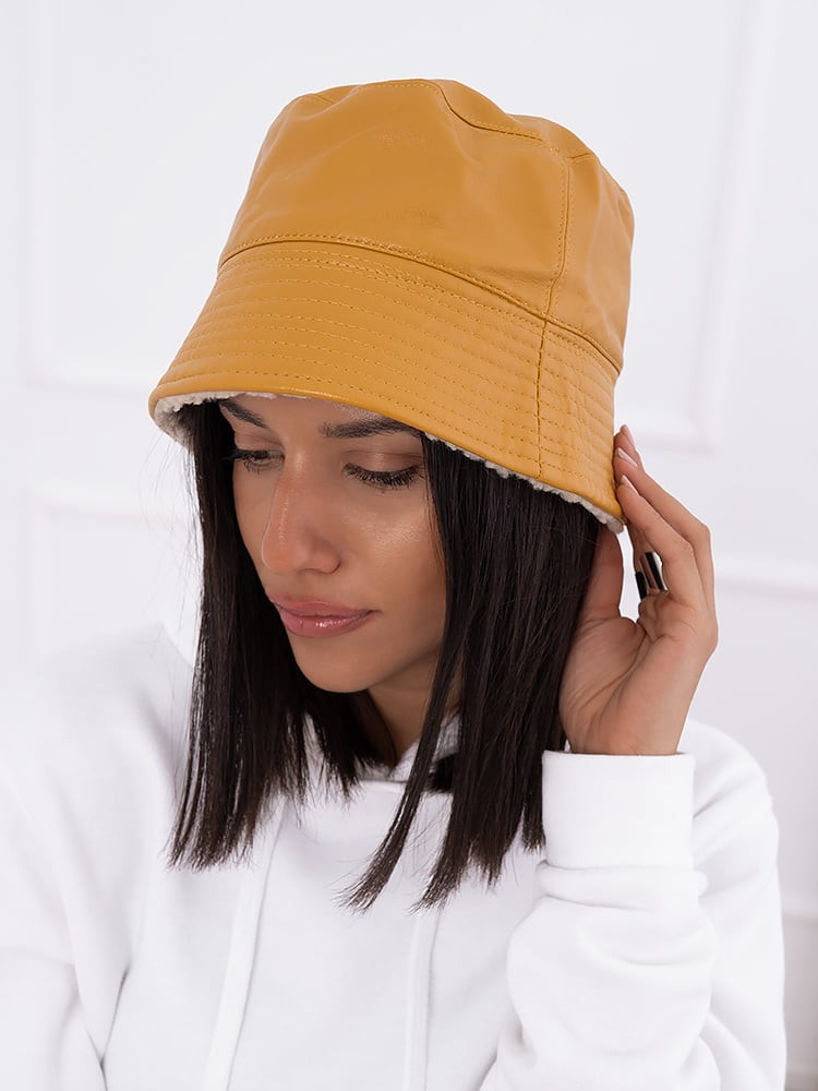 LEATHERETTE YELLOW BUCKET HAT