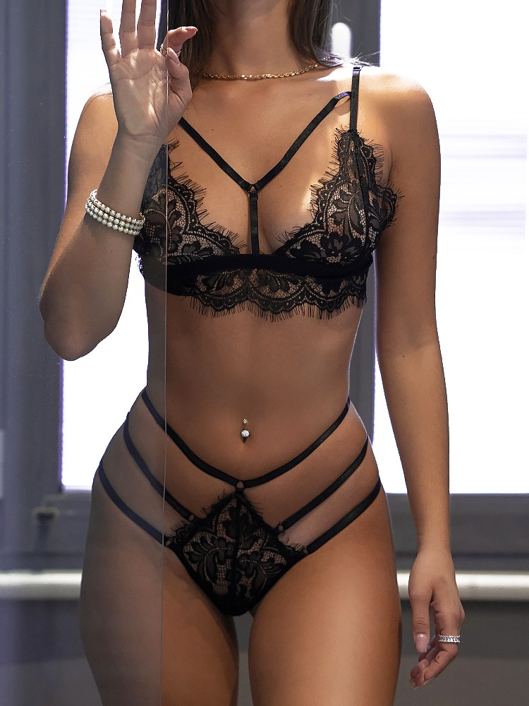 LILIAN BLACK LACE SET