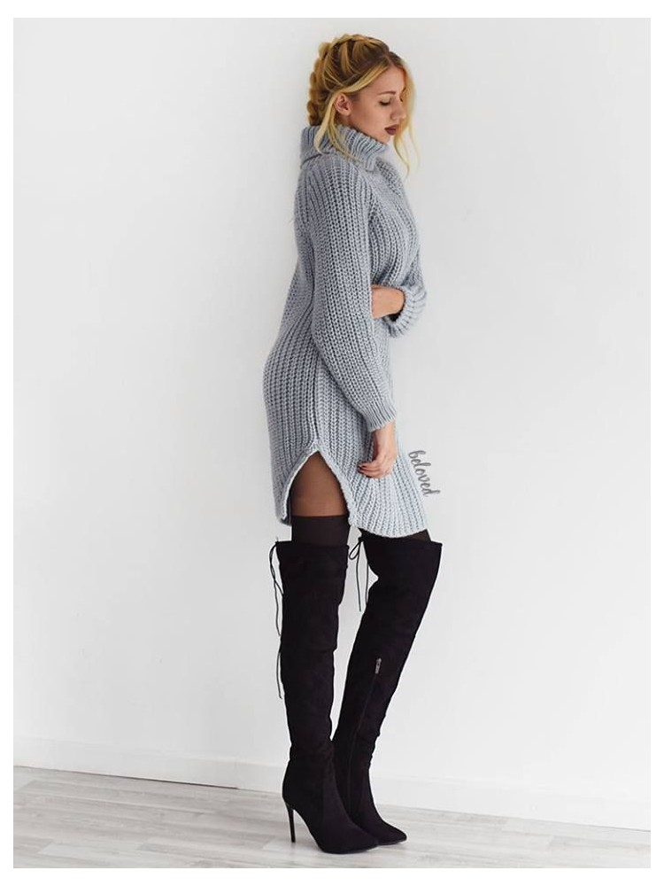 CECILIA ICE GREY KNITTED DRESS