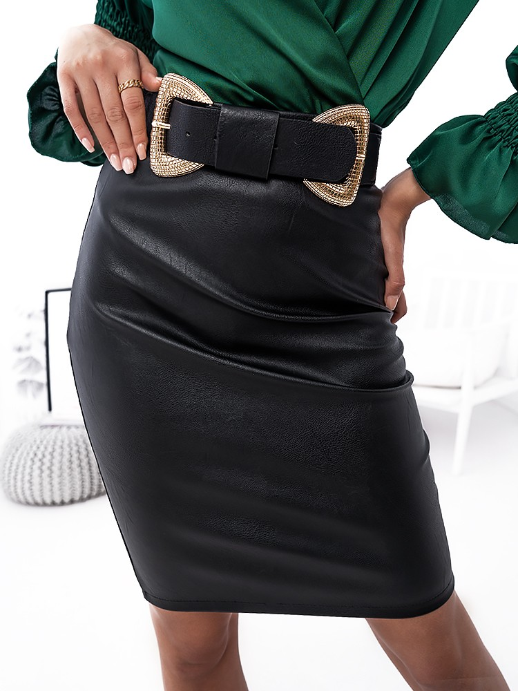 RASHEL MIDI LEATHER SKIRT