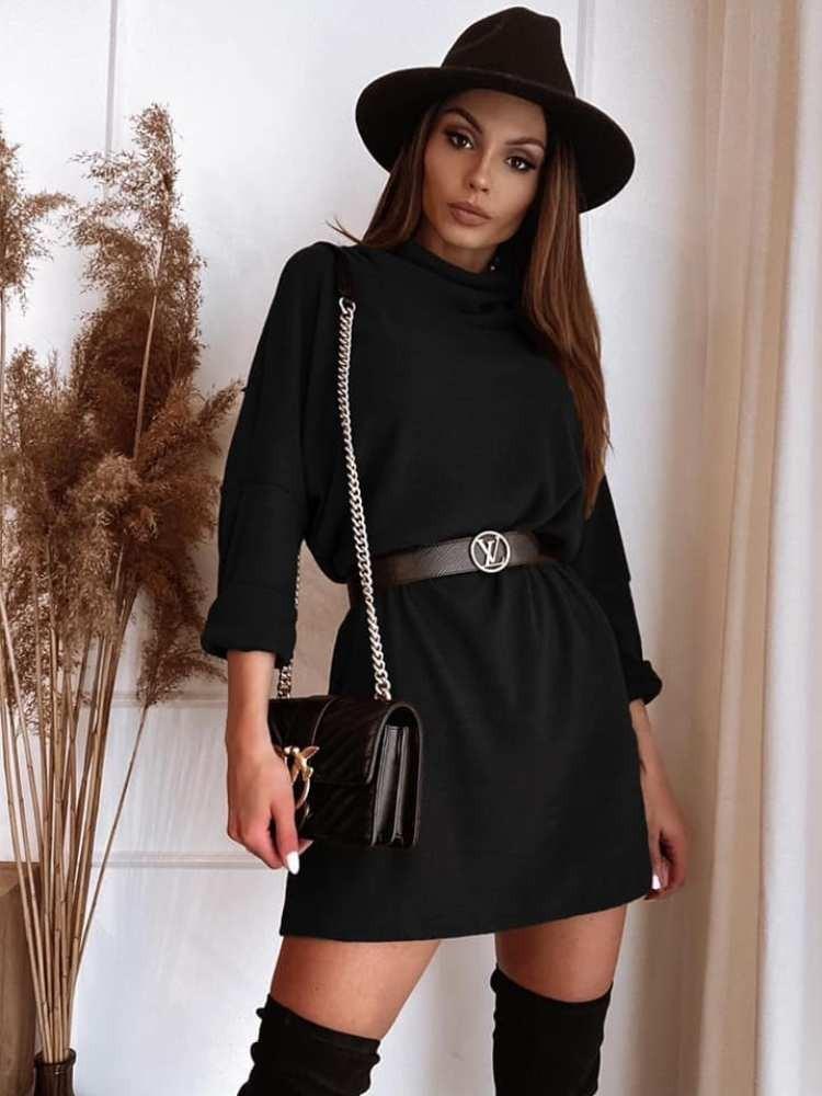 WHISPER BLACK MINI DRESS