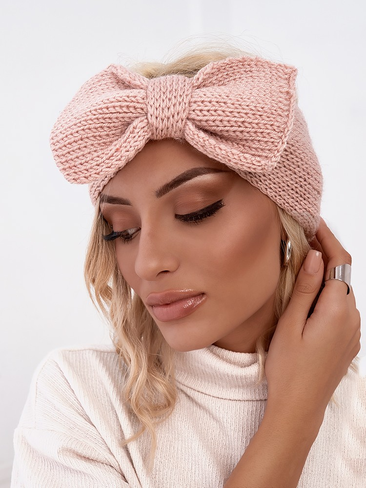 BOW PINK KNITTED HEADBAND