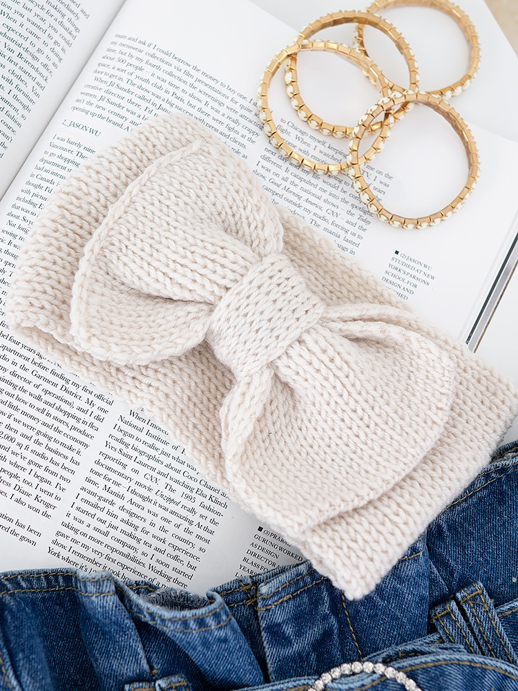 BOW BEIGE KNITTED HEADBAND