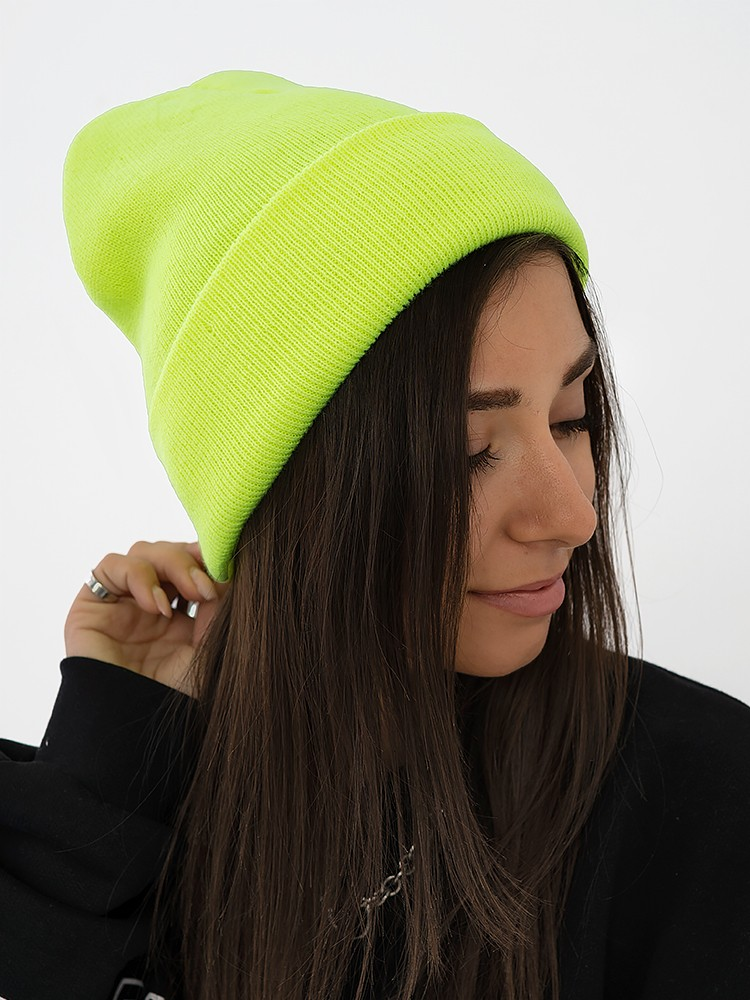 FLUO YELLOW BASIC BEANIE