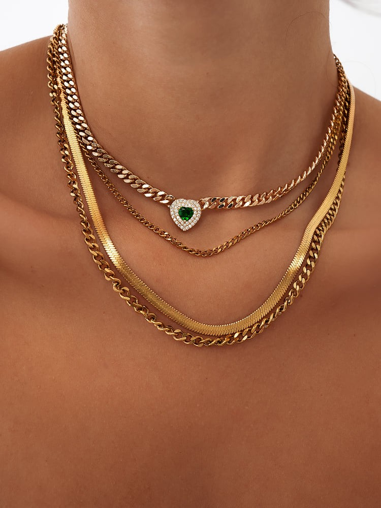 EMERALD HEART LAYER NECKLACE