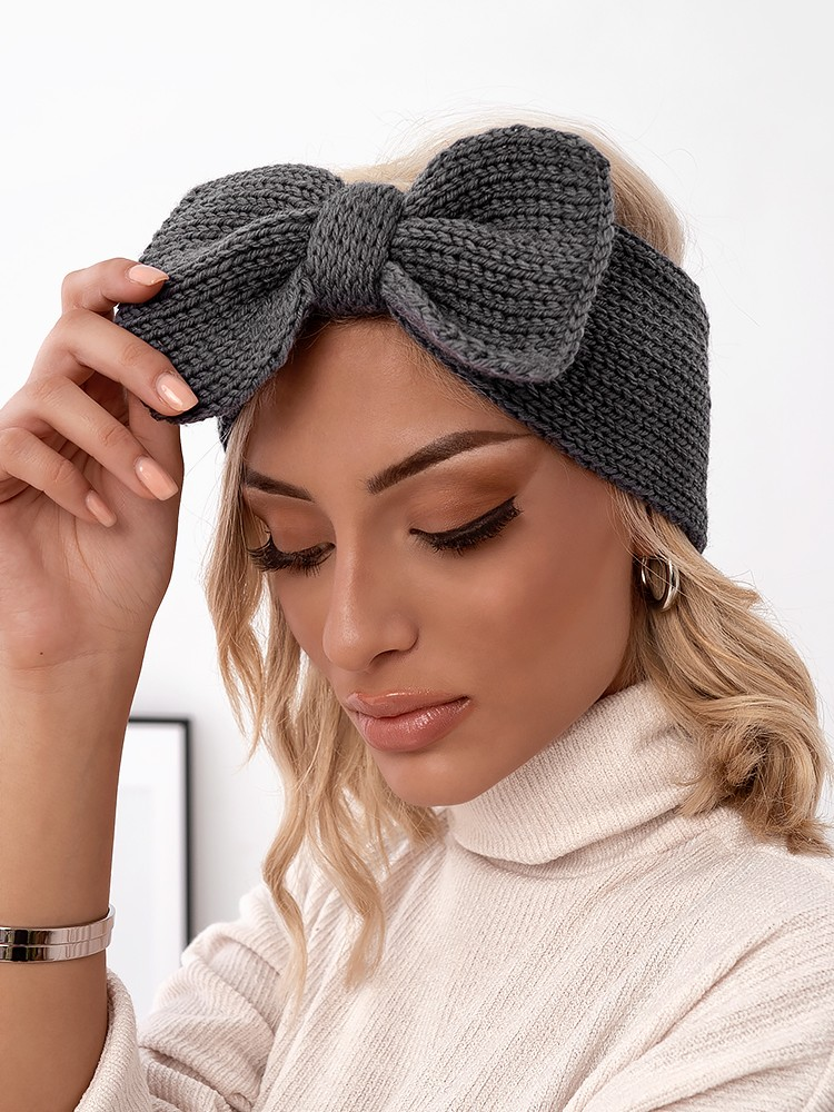 BOW GREY KNITTED HEADBAND