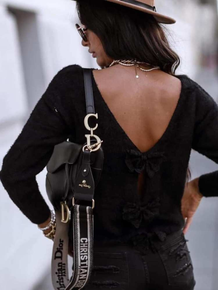BOW BLACK KNITTED BLOUSE