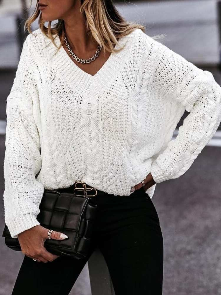 SUSSANE WHITE KNITTED BLOUSE